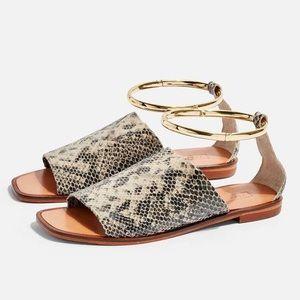 Topshop Flora Leather Snake Anklet Sandals